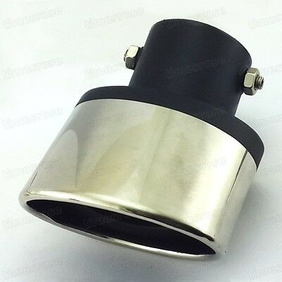 57mm Universal Curved Tailpipe Exhaust Muffler Tail Pipe Tip Stainless Steel
