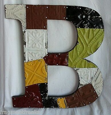 "Large Antique Tin Ceiling Wrapped 16"" Letter 'B' Patchwork Metal Chic Earth Tone"