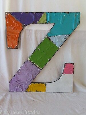 "Large Antique Tin Ceiling Wrapped 16"" Letter 'Z' Patchwork Metal Mosaic Vintage"