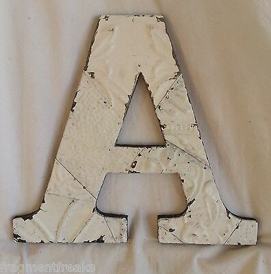 """Large Antique Tin Ceiling Wrapped 12"""" Letter 'A' Patchwork  Mosaic Shabby White"""