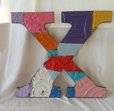 "Large Antique Tin Ceiling Wrapped 16"" Letter 'X' Patchwork Metal Mosaic Vintage"