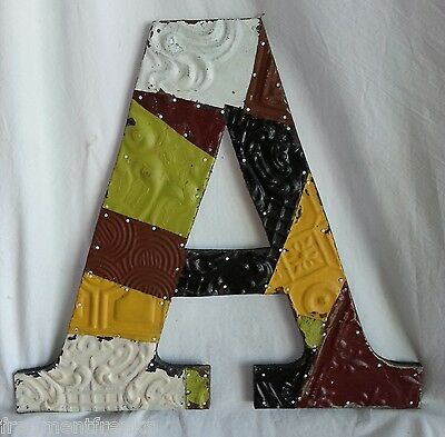 """Large Antique Tin Ceiling Wrapped 16"""" Letter 'A' Patchwork Metal Chic Earth Tone"""