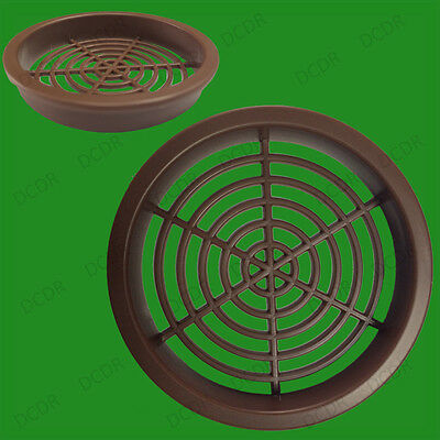 100x Brown Roof Soffit Round Air Vents Eaves Grille 60mm Hole Ventilation