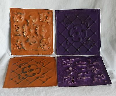 "4 6""x 6""  Antique Tin Ceiling Tiles *SEE OUR SALVAGE VIDEOS* Fz30 Orange Purple"