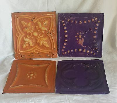 "4 6""x 6""  Antique Tin Ceiling Tiles *SEE OUR SALVAGE VIDEOS* Fz32 Orange Purple"