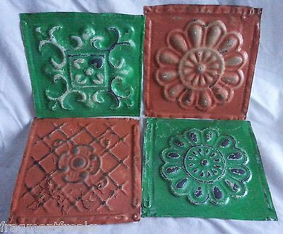 "4 6"" x 6"" Antique Tin Ceiling Tiles*SEE OUR SALVAGE VIDEOS* DD16 Orange/Green"