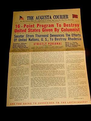 1968 THE AUGUSTA COURIER STROM THURMOND NEGEO BLACK RIOTS CIVIL RIGHTS COMMUNIST
