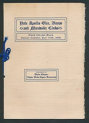 1906 Yale U. APOLLO GLEE/BANJO/BAND/MANDOLIN CLUB Vintage Program