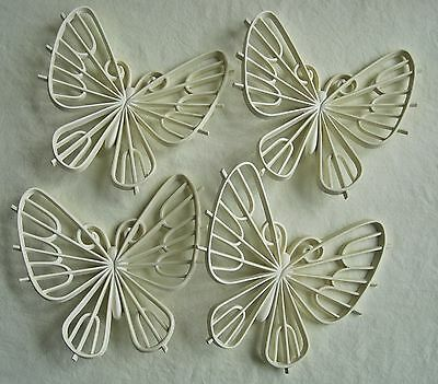 Vintage Burwood Butterflies 1977 Lot of 4 White Plastic Wall Hanging Retro