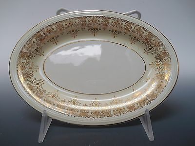 Edwin Knowles 22K Gold Deco Filigree Cream 1930's Oval Serving Plate 8.5""