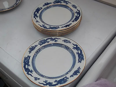 SIX VINTAGE BOOTHS  SALAD / DESSERT PLATES WITH A BLUE DRAGON PATTERN TO RIM