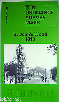 Old Ordnance Survey Detailed  Maps St Johns Wood London 1913 Godfrey Edition