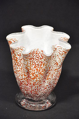 ONE GIBRALTER CRYSTAL ART GLASS HANDKERCHIEF VASE WITH LABEL HANKY HANKIE