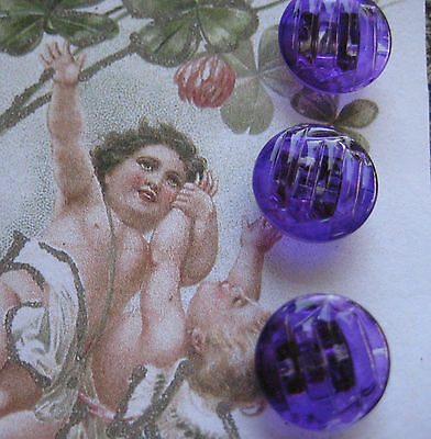"Set of 6 ~ Vintage 1/2"" Purple  Wave Crystal Glass Buttons~ New/old stock"