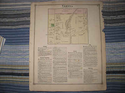 Antique 1873 Battle Creek Verona Partello Calhoun County Michigan Handclr Map Nr