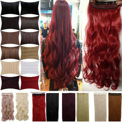 one piece half full head clip in hair extensions straight wavy 5 clips on style