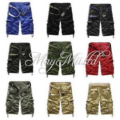 Men's Casual Short Cargo Combat Camo Camouflage Overall Shorts Sports Pants S