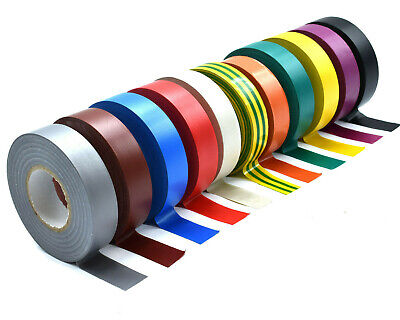 INSULATING TAPE 19mm x 33m 5 x WHITE ELECTRICAL PVC INSULATION JUMBO ROLLS