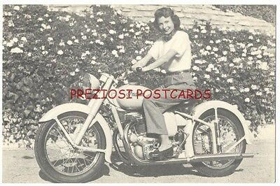 INDIAN ARROW & SCOUT MOTORCYCLE Female Rider - Original Ad Postcard ca1949