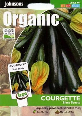 Johnsons Pictorial Pack Vegetable - Courgette Black Beauty (ORGANIC) - 10 Seeds