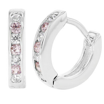 White Gold Filled 18k XS Tiny Pink Clear Crystals Huggie Baby Girls Earrings 7mm