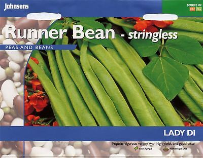 Johnsons Seeds - Pictorial Pack - Vegetable - Runner Bean Lady Di - 45 Seeds