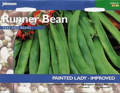 Johnsons Pictorial Pack Vegetable - Runner Bean Painted Lady Improved - 40 Seeds