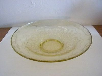 "DEPRESSION  MADRID AMBER 11"" LOW CONSOLE BOWL FEDERAL GLASS Co.1932-39  box 67"
