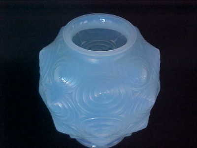 RARE Sabino Paris HIGHLY Stylized Geometric French Art Deco Opaline Glass VASE