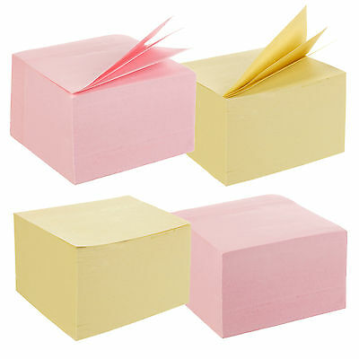 "960 Adhesive Sticky Notes 75 x 75mm 3 x 3"" (2 Packs of 480) Memo Jot Pad Jotter"