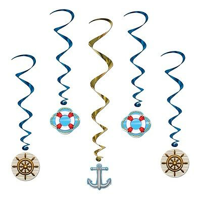 Pack of 5 Cruise Ship Whirls - Nautical Party Decorations - Sailing - Boating