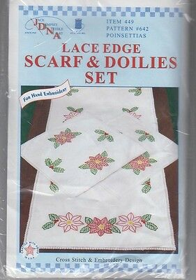 "1  Jack Dempsey ""Poinsettias"" Stamped Embroidery/xstitch Scarf & Doilies Set"