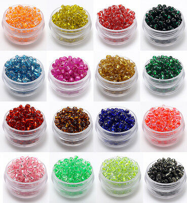 22g 2mm/3mm/4mm Silver Lined Glass Seed Beads DIY Jewelry Making U PICK Colors