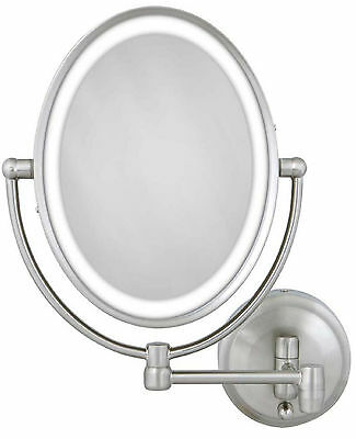 Zadro 1X-10X Cordless Corded Oval LED Lighted Wall Mount MakeUp Mirror LOVLW410