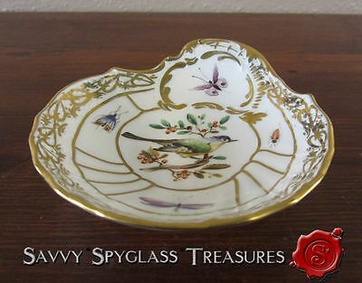 Gorgeous KPM Sceptre Mark Hand Painted Birds & Insect Shell Bowl