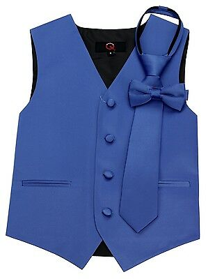 Boy's Royal Blue Satin Formal Dress Tuxedo Vest, Tie & Bow-Tie Set. Wedding Prom
