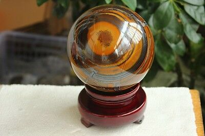 2550g BEST!!! NATURE TIGEREYE CRYSTAL SPHERE BALL + STAND