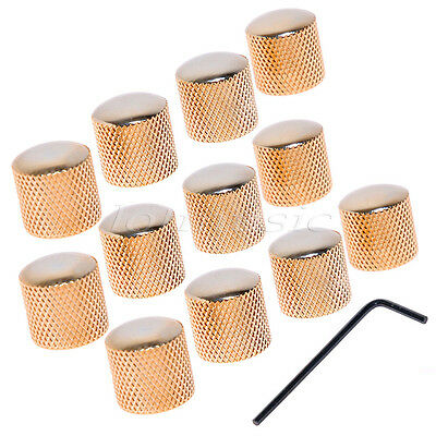 12Pcs  FOR FENDER TELE GUITAR METAL GOLD DOME KNOB w/screw ,0.24""