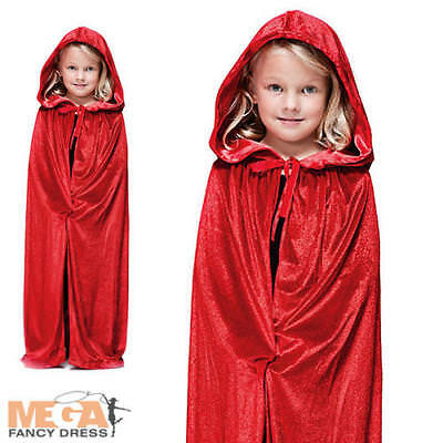 Red Velvet Hooded Kids Cape Halloween Fancy Dress Fairytale Riding Child Costume