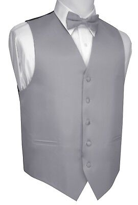 Boy's 2 - Men's 6XL. Silver Formal Dress Tuxedo Vest Set. Wedding, Prom