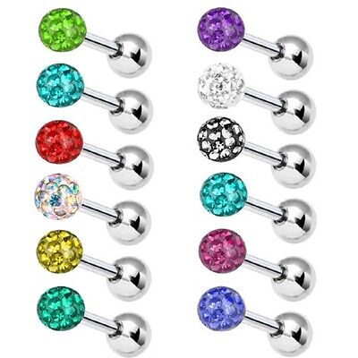 Tragus Helix Barbell Ear Piercing Multi Crystal | Length 6-8 mm | In 12 Colours