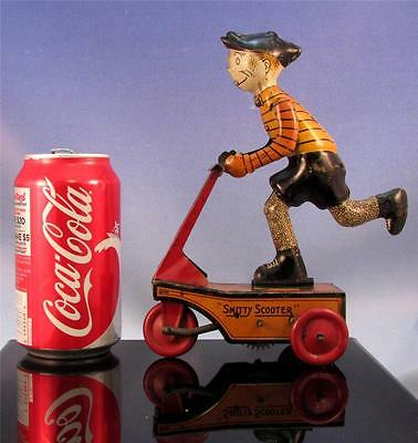 1930's~Rare MARX SMITTY SCOOTER Tin Wind Up Comic Character~WORKING USA