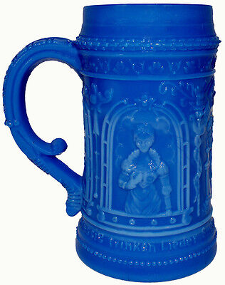 "1910's Westmoreland Glass Blue Marble Knight 4.5""t Mug Stein Mustard Container"
