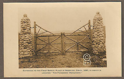 NORWICH, CT ~ ENTRANCE TO FIRST CEMETERY ~ 1661 ~ D. TRACY RPPC ~ CIRCA 1910s