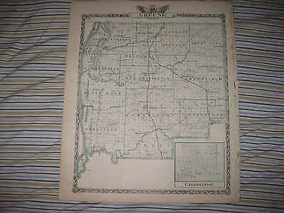 Antique 1876 Macoupin Greene County Illinois Map Carrollton Carlinville Nr