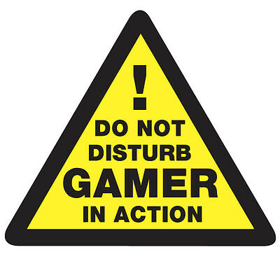 WARNING GAMER in Action Sticker - Do Not Disturb Gaming 10cm x 9cm Fun Decal
