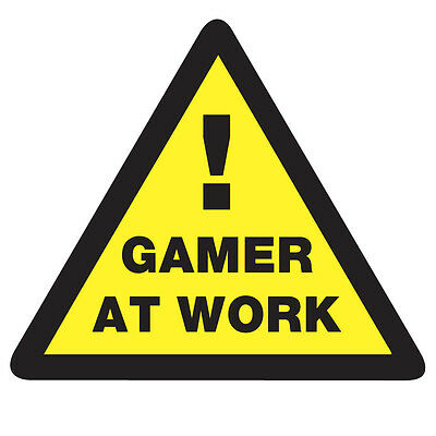 WARNING GAMER at Work Sticker - Video Arcade Console Game 10cm x 9cm Fun Decal