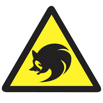 WARNING SONIC the Hedgehog Game Sticker - Video Arcade Gaming 10cm x 9cm Decal