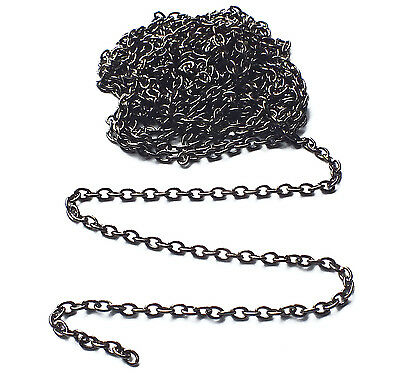 2 x Meter Gunmetal Black Plated Fine Trace Chain, 2x3mm Jewellery Necklace Craft