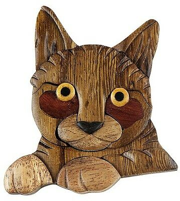 INTARSIA WOOD CAT MAGNET, handsome handcrafted wood mosaic